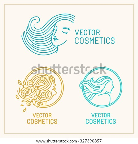 Vector set of logo design templates and abstract concepts - woman faces and portraits on circle badges in trendy linear style - beauty symbols for hair salon or organic cosmetics  - stock vector