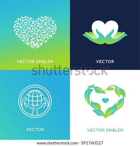 Vector set of logo design templates and badges - nature and ecology concepts - care and love environment - grown with love - stock vector
