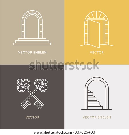 Vector set of logo design templates and emblems in trendy linear style - architecture, real estate and opening concept  - stock vector