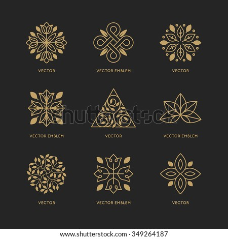 Vector set of logo design templates and emblems in trendy linear style in golden colors on black background - floral and natural cosmetics concepts and alternative medicine symbols - stock vector