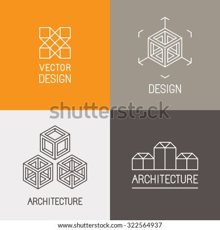 Vector set of logo design templates in trendy simple linear style - emblems and signs for architecture studios, object designers, new media artists and augmented reality start-ups - stock vector
