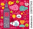 Vector set of London symbols. Vector pattern - stock vector
