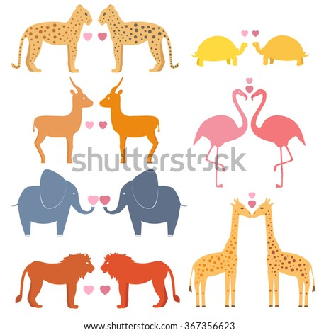 Vector set of love couple animals including giraffe, turtle, elephant, lion, leopard, flamingo, gazelle - stock vector