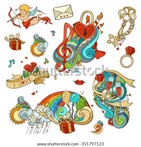 Vector set of love doodles design elements isolated on white background. Cupid, balloons, music notes, clouds, rainbow, sun, key and lock, chain, kiss,  letter, ribbon, ring, glass of wine, swirls. - stock vector