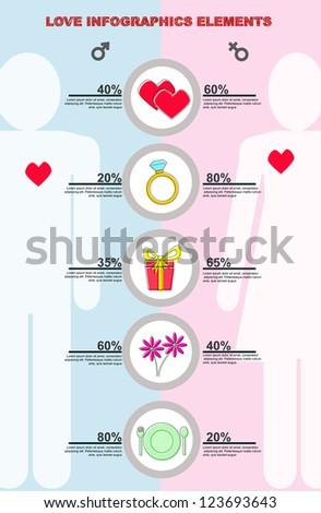 vector set of love infographic elements - stock vector