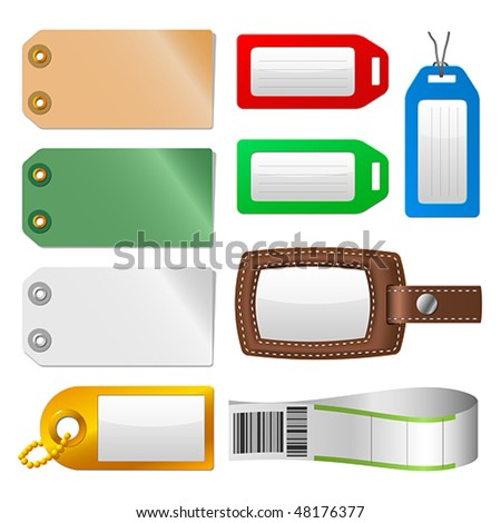 Vector set of luggage tags and labels. JPG and TIFF versions of this illustration are also available in my portfolio.