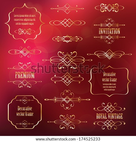 Vector set of luxury calligraphic design elements and page decor isolated on blurred red background. - stock vector