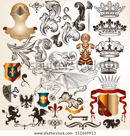 Vector set of luxury royal vintage elements for your heraldic design - stock vector