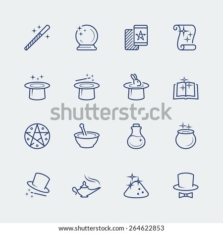 Vector set of magic related icons - stock vector