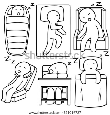 vector set of man sleeping - stock vector