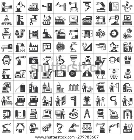 vector set of manufacturing process, production line and automation icons, robot, industry icons - stock vector