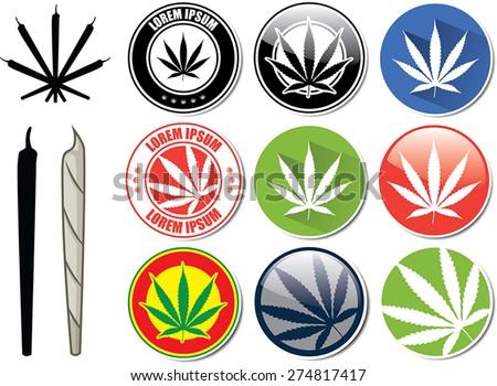 Vector set of marijuana and cannabis buttons, icons, logos - stock vector