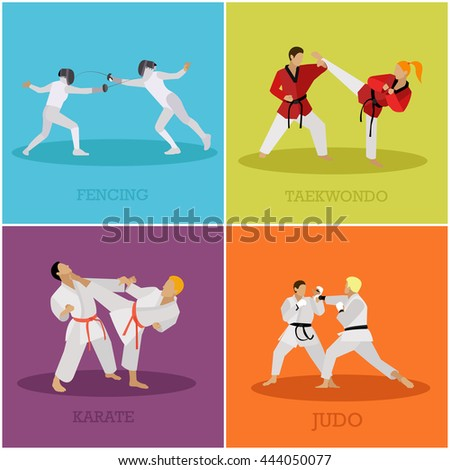 Vector set of martial arts people silhouette. Sport positions vector illustration. Design elements and icons. Martial arts and fencing fighters. - stock vector
