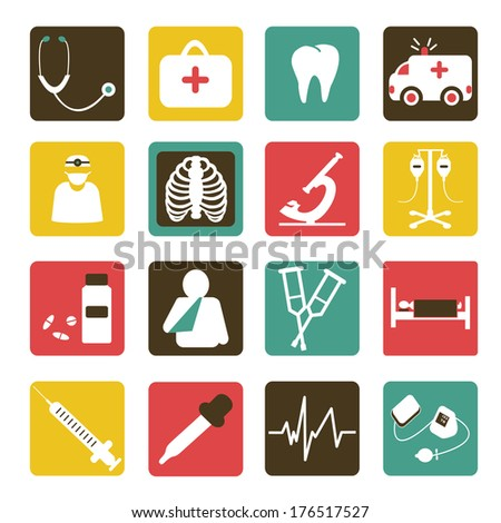 Vector set of medical icons flat design white color - stock vector