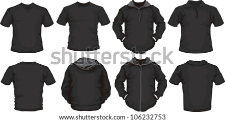 vector set of men's shirts template in black, front and back design, check out my portfolio for different t-shirt templates - stock vector