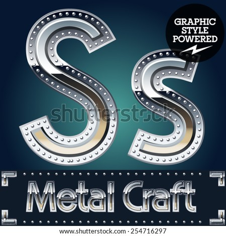 Vector set of metal aluminum alphabet with riveted border. Letter S - stock vector