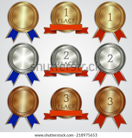Vector set of metal badges with ribbons for the first, second, third place - stock vector