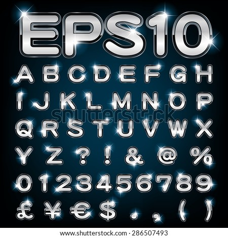 Vector set of metallic letters and numbers - stock vector