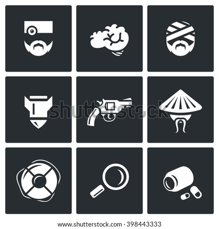 Vector Set of Military Rehabilitation Icons. Health, Mind, Contusion, War, Suicide, Vietnam, Salvation, Diagnosis, Treatment. Soldier With PTSD and Medicine. Isolated symbols on a black background - stock vector