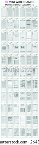 Vector set of 66 mobile phone wireframes, user interface kit for mobile application prototype with flowcharts - stock vector