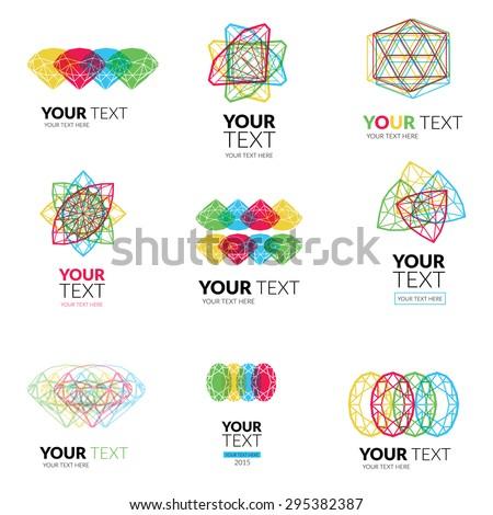 Vector set of modern diamond logos -  colorful design - stock vector