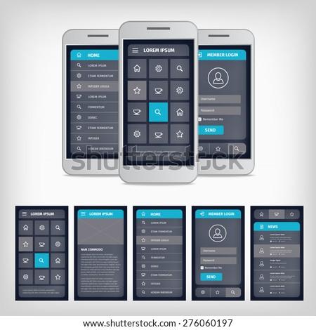 Vector set of modern flat design. Template mobile user interface. EPS10 illustration. Mobile app ui kit. - stock vector