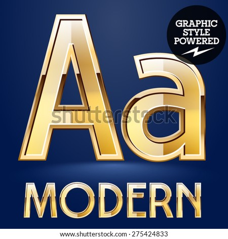 Vector set of modern golden glossy font. Letter A - stock vector