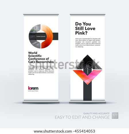 Vector set of modern roll up banner stand design with red circle, arrow, geometric shapes with overlap effect for business with construction and industrial concept. Corporate vector vertical flyer. - stock vector