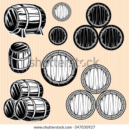 vector set of monochromatic patterns with barrels for beverages - stock vector