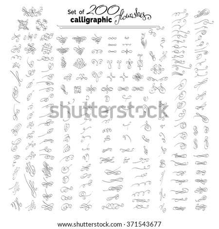 Vector set of more than 200 hand-drawn calligraphic flourishes. Vintage design elements, ornamental page decorations and dividers. Can be used for invitations and congratulations. - stock vector