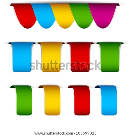 Vector set of multicolored paper labels. - stock vector