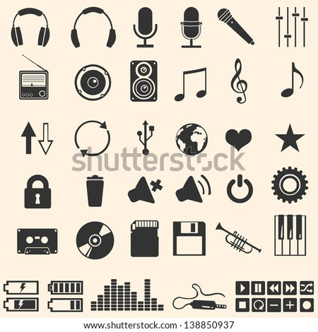 vector set of 46 music icons - stock vector