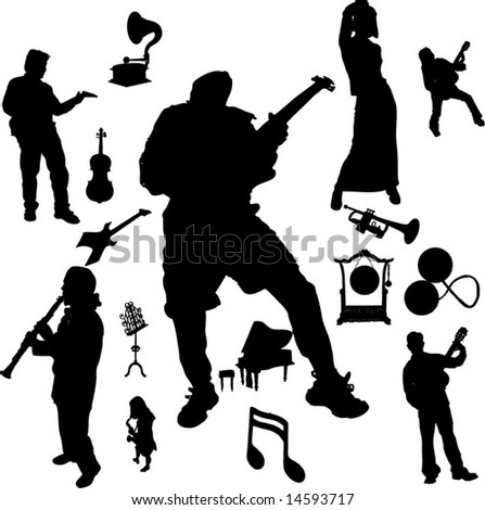Vector set of Musical instruments and Players-7 - stock vector