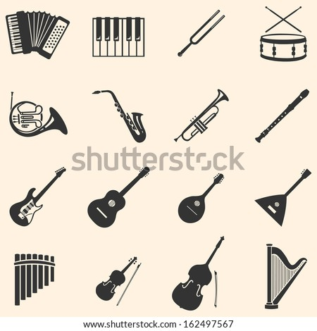 vector set of 16  musical instruments icons  - stock vector