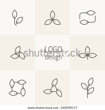 Vector set of natural logo design. Simple linear floral elements. Stylized leaves form modern logotypes with eco and bio direction. Contemporary graphic design. Minimalist linear style. - stock vector
