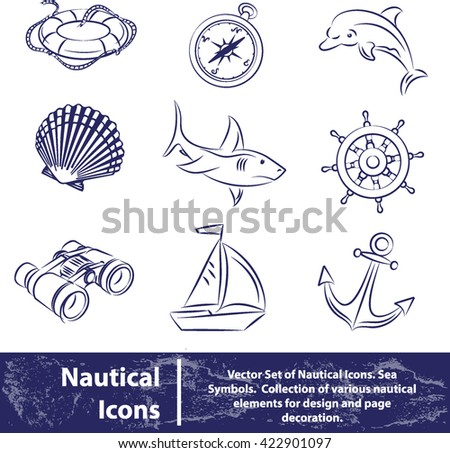 Vector set of nautical icons. Sea symbols isolated on white background - stock vector