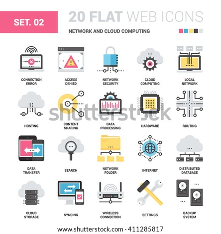 Vector set of network and cloud computing flat web icons. Each icon neatly designed on pixel perfect 64X64 size grid. Fully editable and easy to use. - stock vector