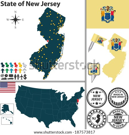 Vector set of New Jersey state with flag and icons on white background - stock vector