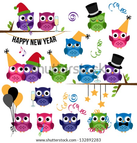 Vector Set of New Year's Celebration Themed Owls - stock vector