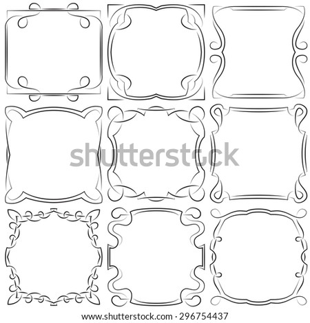 Vector set of nine beautiful square frames - stock vector