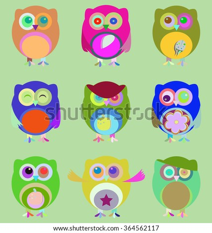 vector Set of nine cartoon owls with various emotions - stock vector
