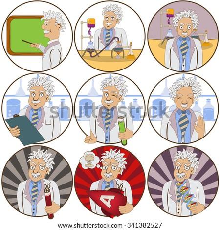 Vector set of nine different scientist cartoon illustrations. - stock vector