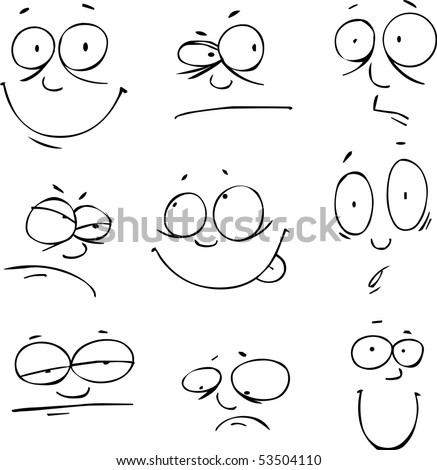 Vector set of nine face - stock vector