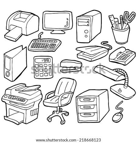 vector set of office accessories - stock vector