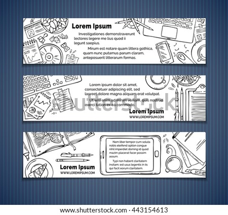Vector set of office workplace horizontal banners. Hand-drawn contours of gadgets, documents and office stationery supplies, laptop, PC. Top view. Doodles design elements for work and education. - stock vector