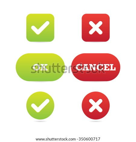Vector Set of Ok and Cancel Buttons - stock vector