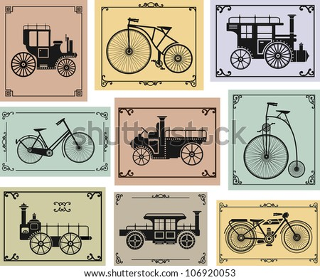 Vector set of old bikes and cars on a colorful background - stock vector