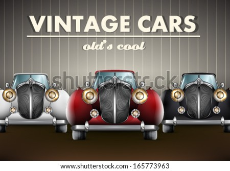 Vector set of old's cool vintage cars background illustration - stock vector