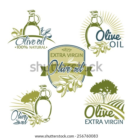 Vector set of olive logos, labes, emblems - stock vector