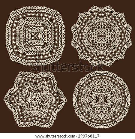 Vector set of ornamental designs of various shapes - stock vector